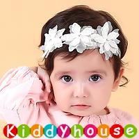 百日宴bb嬰兒影相用品/女童派對髮飾物~小公主立體鑽芯小花頭飾髮帶(白色) Elastic Flower Headband H410 現貨