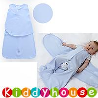 bb嬰兒用品~Miracle純棉蠶蟲式防踢被襁褓睡袋(淡藍) BB1222 現貨