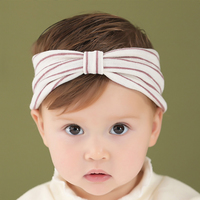 百日宴bb嬰兒影相用品/女童賀新年 派對髮飾物~小公主針織蝴蝶結頭飾粗髮帶(豆沙) Elastic Headband H563 現貨
