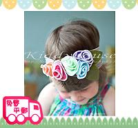 百日宴bb嬰兒影相用品/女童派對髮飾~灰帶拼五彩花粗頭帶 小童飾物 兒童髮飾  Elastic Flower Headband H088 現貨