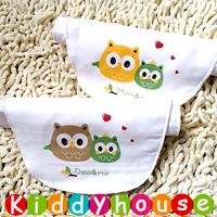 bb嬰兒用品~優質可愛印花4層紗布大號墊背吸汗隔汗巾 (貓頭鷹2條組) BB1228 現貨