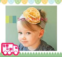 百日宴bb嬰兒影相用品/女童派對髮飾~黃點大花粗頭帶 小童飾物 兒童髮飾 Elastic Flower Headband H074 現貨