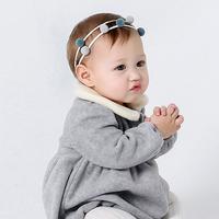 百日宴bb嬰兒影相用品/女童賀新年 派對髮飾物~清新小公主毛毛球頭飾髮帶(藍波) Elastic Pompom Headband H514 現貨