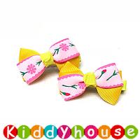 【清貨特價】bb女童髮飾~布藝雙層蝴蝶小童嬰兒髮夾(對)Toddler Ribbon Hair Clip H113 現貨