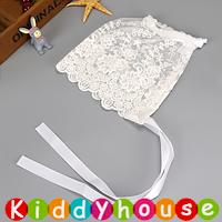 百日宴bb嬰兒/女童派對髮飾物用品~優雅蕾絲小公主BB帽(白色) Baby Bonnet H612 現貨