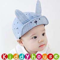 嬰兒男女童髮飾~可愛極了!小王子立體兔仔網背Cap帽(粉藍) H457 現貨