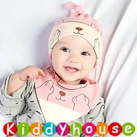 嬰兒用品~可愛熊帽仔+口水肩套裝(粉紅) H599 現貨