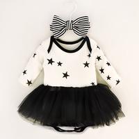小公主純棉Party夾衣蓬蓬裙+頭帶(黑色) BB1363 現貨