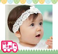 特價!百日宴bb嬰兒/女童賀新年 派對髮飾物用品~精緻珠芯小花頭飾髮帶 小童飾物 Elastic Flower Headband(白色/粉紅) H065 現貨
