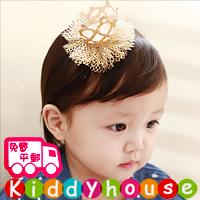 【限時特價】百日宴bb嬰兒/女童新賀年髮飾物用品~小公主立體網紗皇冠髮夾(金) Toddler Crown Hair Clip H440 現貨