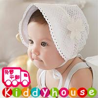 嬰兒男女童髮飾~超美!田園風小公主通花娃娃帽(白) H421 現貨