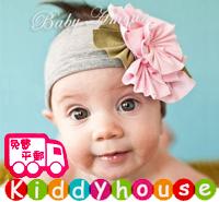 百日宴bb嬰兒影相用品/女童派對髮飾~粉紅花花粗頭帶 小童飾物 兒童髮飾  Elastic Flower Headband H325 現貨