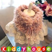 女童拍照 派對襯衫推介~韓款公主毛毛拼蕾絲頸圍 領巾 BB1156 現貨