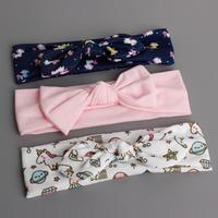 百日宴bb嬰兒影相用品/女童賀新年 派對髮飾物~小公主純棉蝴蝶結頭飾粗髮帶3條套裝 Ribbon Headband Set H544 現貨