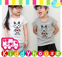 超特價!男女童服裝~得意愛心兔子印花短袖T恤(灰色) KB373 現貨
