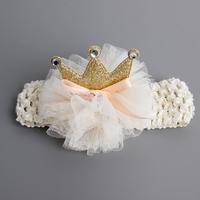 百日宴bb嬰兒影相用品/女童賀新年 派對髮飾物~小公主針織薄紗皇冠頭飾粗髮帶(米白色) Elastic Crown Headband H541 現貨