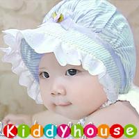 百日宴bb嬰兒影相用品/女童派對髮飾~棉質條紋蝴蝶結公主娃娃bb太陽帽 Hat H275(3色) 現貨