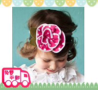 百日宴bb嬰兒影相用品/女童派對髮飾~粉紅波點大花粗頭帶 小童飾物 兒童髮飾 Elastic Flower Headband H130 現貨