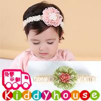 【限時特價】bb嬰兒拍照用品/女童派對髮飾~小公主針織立體花花頭飾髮帶 Elastic Flower Headband H492 現貨