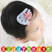 百日宴bb嬰兒/女童派對髮飾物用品~可愛布藝小兔小童嬰兒髮夾(粉藍/每隻) Baby Hair Clips H586 現貨