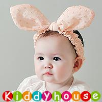 百日宴bb嬰兒拍照用品/女童髮飾~小公主純棉立體大耳朵頭飾髮帶(橙粉紅) Elastic Bunny Ear Headband H435 現貨