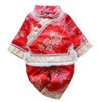 秋冬季嬰幼兒兒童女童長袖連褲唐裝中國服民族傳統服賀年服新年服套裝 #PO8289