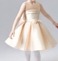 秋季女童中童寶寶花女裙公主裙宴會禮服裙背心西裙香檳色 #PO8069