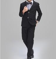春夏款 幼童男童花仔宴會禮服西服4/5件套西裝鋼琴表演服套裝 黑色 #8104