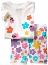 (7折) 女童短袖睡衣家居服 甲蟲小花 白 #PS1248-H1