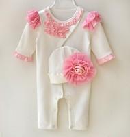 春秋款嬰兒女童寶寶BB爬服哈衣夾衣  長袖滿月連帽連體衣2件套裝 白色#1788-K3