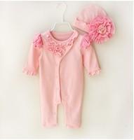 春秋款嬰兒女童寶寶BB爬服哈衣夾衣  長袖滿月連帽連體衣2件套裝 粉色#1787-K3