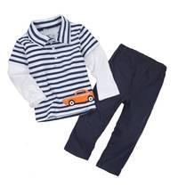 外貿秋款男寶寶男童幼童長袖T恤+長褲2件組套裝-灰條小車 #YS1528-G1