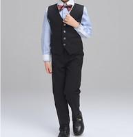 夏款 幼童男童花仔宴會禮服背心西服4件套西裝鋼琴表演服套裝 黑色 #8102