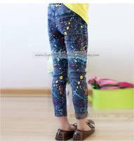 春秋款韓國款童裝女童小童幼童牛仔打底褲長褲 藍色 #GB1627-M