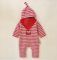 春秋款嬰兒男女童寶寶BB爬服哈衣夾衣  帽+三角巾+長袖連體衣3件套裝 紅白間 #1790-K3