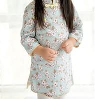 幼兒兒童女童純棉七分袖旗旗袍中國唐裝新年裝賀年服公主裙 #PO8115