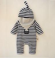 春秋款嬰兒男女童寶寶BB爬服哈衣夾衣  帽+三角巾+長袖連體衣3件套裝 黑白間 #1789-K3