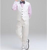 夏款 幼童男童花仔宴會禮服背心西服4件套西裝鋼琴表演服套裝 白色 #8103
