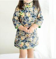 幼兒兒童女童純棉七分袖旗旗袍中國唐裝新年裝賀年服公主裙#PO8052