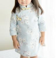 幼兒兒童女童棉麻七分袖旗旗袍中國唐裝新年裝賀年服公主裙#PO8055