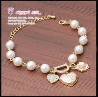 珍珠鑲鑽心型手鏈 bracelet