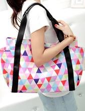 BAG1047 韓版潮流三角格紋帆布袋