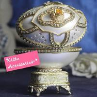 ❤ 2018浪漫情人節禮物 ❤ 優雅閃鑚珍珠蛋雕首飾盒音樂盒