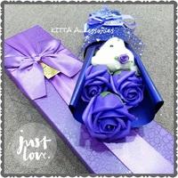 [女朋友/老婆情人節首選小花束] 可愛啤啤熊仔香皂玫瑰小花束 (3朵,紫色)