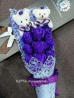 浪漫11朵香皂玫瑰花啤啤熊仔花束 (紫色) - 生日 畢業 情人節花束