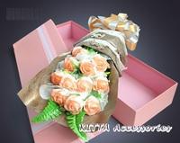 預訂2018情人節求婚花束 ❤ 漸變色香皂玫瑰花花束  (鮮花速遞 送花服務 Valentine Flower Gift)