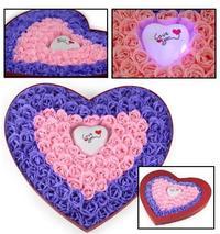 心型禮盒100朵玫瑰香皂花 + Love You 閃燈 ❤ 求婚 結婚 示愛 女朋友 生日 聖誕節禮物