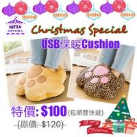 【聖誕禮物預訂優惠】 可愛毛毛猫爪USB暖腳Cushion抱枕 (優惠至2016年12月11日)