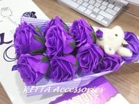 [女朋友浪漫情人節禮物推介] 可愛 I LOVE U 啤啤熊仔11朵香皂玫瑰小花束 (紫色)