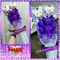 [女朋友浪漫情人節禮物推介] 可愛啤啤熊仔11朵香皂玫瑰小花束 (紫色)